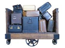 Carrello in pieno di bagagli antiquati Fotografie Stock Libere da Diritti