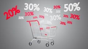 Carrello rosso e bianco e sconto di vendite - 3d rendono Fotografia Stock Libera da Diritti