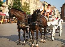 Carrello su un servizio quadrato, Cracovia del cavallo Fotografie Stock
