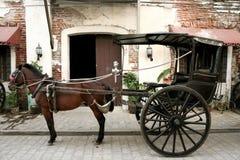 Carrello trainato da cavalli Filippine vigan Fotografie Stock Libere da Diritti