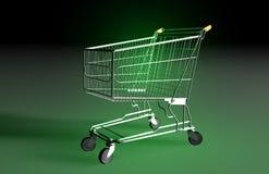 Carrello verde d'acquisto Fotografia Stock