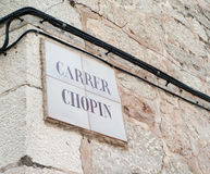 Carrer Chopin in Valldemossa lizenzfreie stockfotos