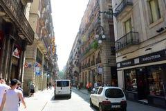 Carrer de Ferrance, vecchia città di Barcellona, Spagna Fotografia Stock