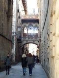 Carrer del Bisbe, Barcelona - Spain Stock Photos