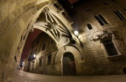 Carrer del Bisbe at night Stock Images