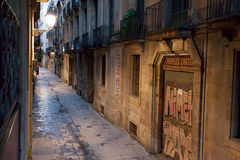 Carrer dels Tallers  street early in the morning. Stock Image