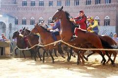 Carrera de caballos del palio de Siena Foto de archivo libre de regalías