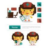Carrera de la enfermera del diseño de carácter, vector del icono con el fondo blanco Imágenes de archivo libres de regalías