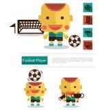 Carrera del futbolista del diseño de carácter, vector del icono con el fondo blanco Foto de archivo
