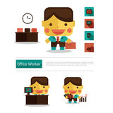 Carrera del trabajador de la oficina conceptora de carácter, vector del icono con el fondo blanco Imagenes de archivo
