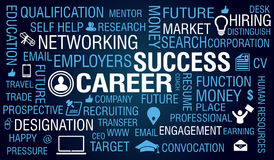 Carrera y Job Success Concept en fondo azul Fotografía de archivo libre de regalías