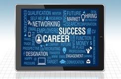 Carrera y Job Success Concept en tableta Imagen de archivo libre de regalías
