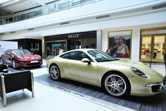 Carreras cars show in shopping mall Royalty Free Stock Images