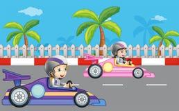 Carreras de coches de las muchachas ilustración del vector