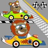 Carreras de coches de los animales stock de ilustración