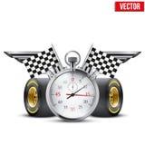Carreras de coches y campeonato de la bandera del concepto Foto de archivo