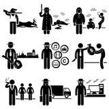 Carreras de los empleos de los trabajos del crimen de la actividad ilegal Fotografía de archivo libre de regalías