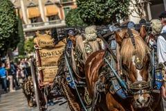 Carreta caballos en节日本机 免版税库存照片