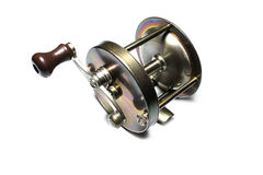 Carrete de cobre amarillo viejo de la pesca Fotos de archivo libres de regalías