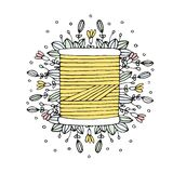 Carrete de costura dibujado mano del hilo del vector floral Fotos de archivo libres de regalías