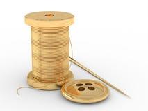Carrete de la cuerda de rosca, de la aguja y del botón Imagen de archivo