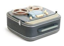 Carretel análogo do registrador do vintage a bobinar no branco Imagem de Stock Royalty Free