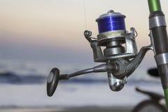 Carretel da pesca, fim acima imagens de stock