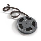 Carretel de filme do filme na ilustração 3D branca Imagem de Stock