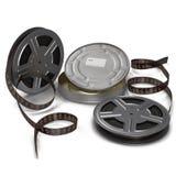 Carretel de filme do filme na ilustração 3D branca Imagens de Stock Royalty Free