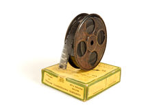 carretel e caixa de película de 16mm 30m imagens de stock