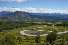 The Carretera Austral in northern Patagonia, Chile. The Carretera Austral; famous road connecting remote towns and villages in northern Patagonia, Chile. Curved stock photos
