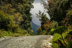 Carretera Austral road. Famous Carretera Austral road going through spectacular mountain scenery in Chilean Patagonia Stock Images
