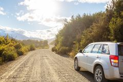 Carretera. Beautiful mountains landscape along gravel road Carretera Austral in southern Patagonia, Chile stock images