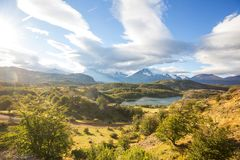 Carretera. Beautiful mountains landscape along gravel road Carretera Austral in southern Patagonia, Chile royalty free stock images