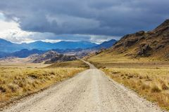 Carretera. Beautiful mountains landscape along gravel road Carretera Austral in southern Patagonia, Chile stock photo