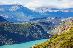 Carretera. Beautiful mountains landscape along gravel road Carretera Austral in southern Patagonia, Chile royalty free stock photos
