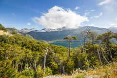 Carretera. Beautiful mountains landscape along gravel road Carretera Austral in southern Patagonia, Chile royalty free stock photo