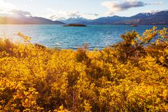 Carretera. Beautiful mountains landscape along gravel road Carretera Austral in southern Patagonia, Chile royalty free stock image