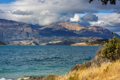Carretera. Beautiful mountains landscape along gravel road Carretera Austral in southern Patagonia, Chile stock image
