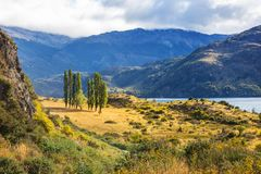 Carretera. Beautiful mountains landscape along gravel road Carretera Austral in southern Patagonia, Chile royalty free stock photography