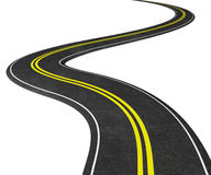 Carretera con curvas en el blanco - ejemplo 3D Fotografía de archivo libre de regalías