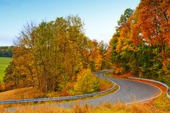 Carretera con curvas en el bosque otoñal Fondo de la naturaleza foto de archivo libre de regalías