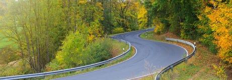 Carretera con curvas en el bosque otoñal Fondo de la naturaleza fotografía de archivo