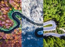 Carretera con curvas en el colag del otoño, del verano y de invierno del bosque Imagen de archivo