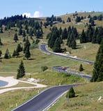 Carretera con curvas por completo de curvas en los prados imágenes de archivo libres de regalías