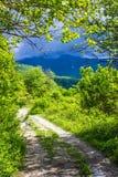 Carretera con curvas que desaparece en las montañas de Abjasia Fotos de archivo libres de regalías