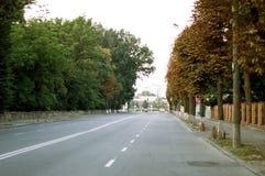 Carretera de asfalto con las marcas blancas en la calle de la ciudad Imagen de archivo libre de regalías