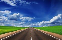Carretera de asfalto en campos verdes debajo del cielo hermoso Fotografía de archivo libre de regalías