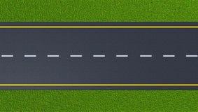 Carretera de asfalto en el césped verde stock de ilustración