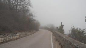 Carretera de asfalto en la niebla metrajes